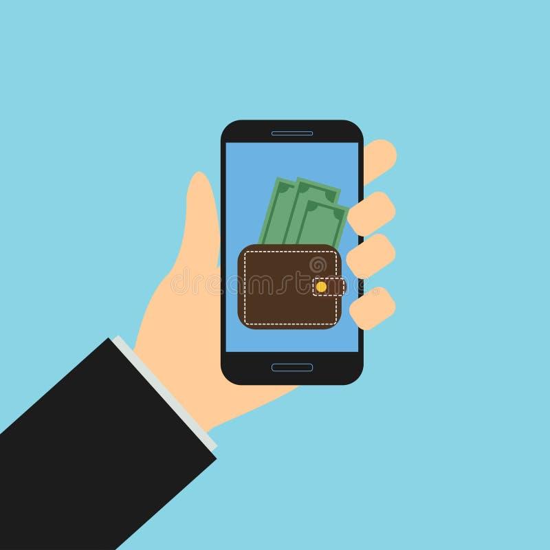 Portafoglio mobile con soldi, smartphone della tenuta della mano illustrazione vettoriale