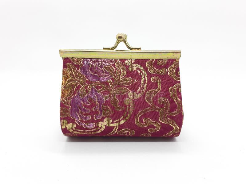 Portafoglio variopinto moderno della borsa della retro annata classica con il modello barrocco per la donna nel fondo isolato bia fotografie stock