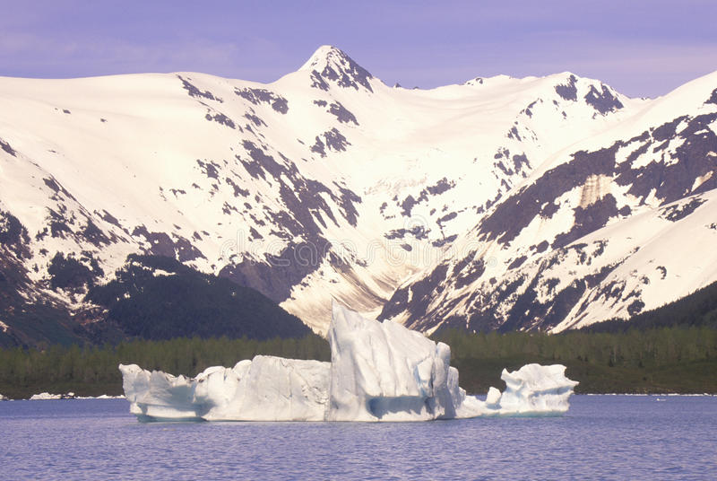 Portage Glacier and Portage Lake as seen from Seward Highway, Alaska stock photos