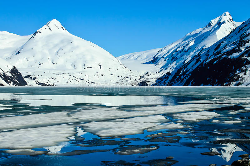 Portage Gletscher lizenzfreie stockbilder