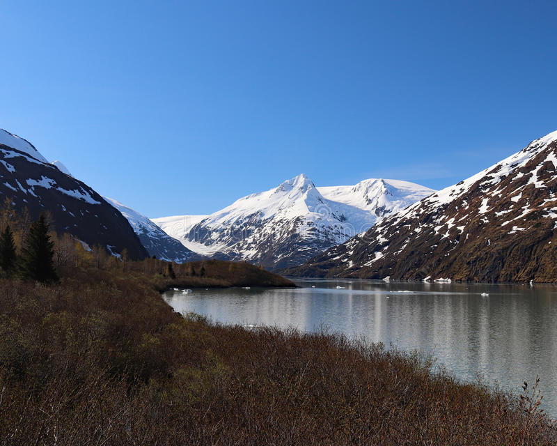 Portage lake and mountains stock photography