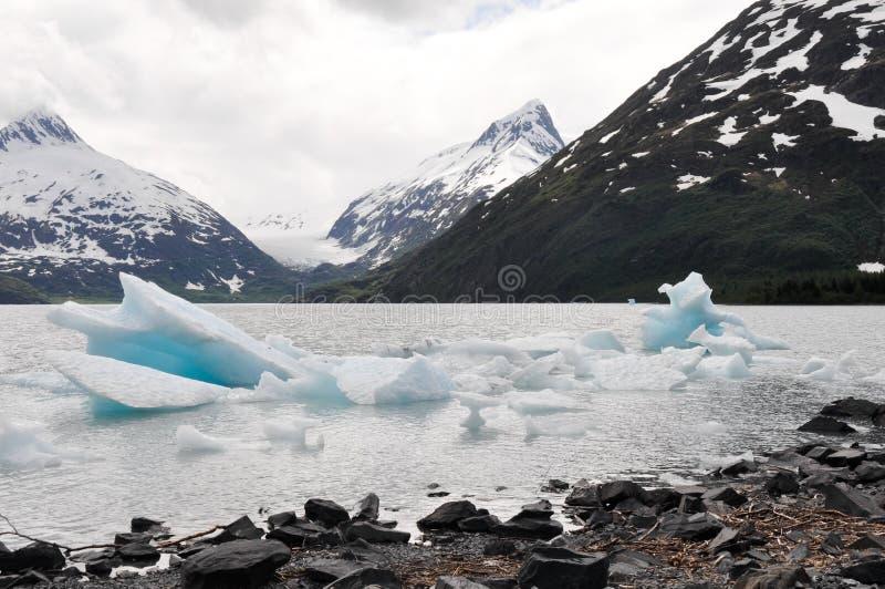 Portage See mit Eisberg, Alaska stockfotos