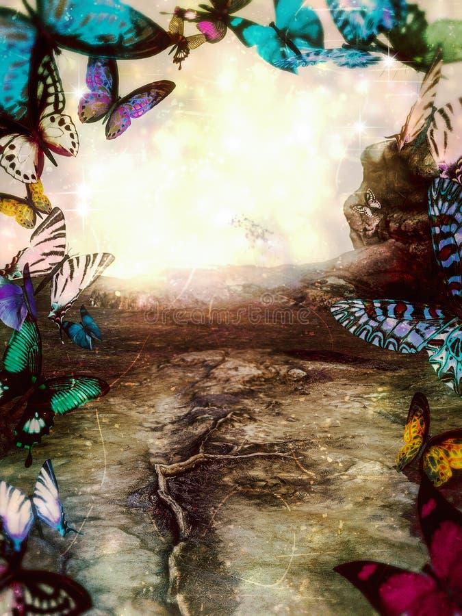 Portail magique de Butterly d'imagination au monde des fées illustration de vecteur
