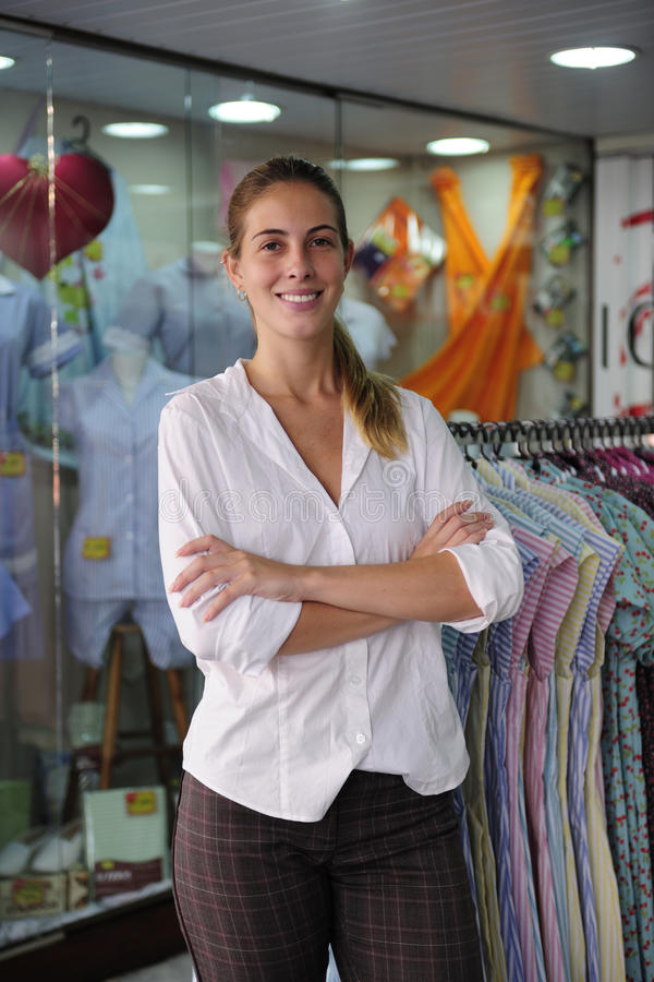 Portait of a retail store owner stock images