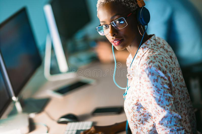 Portait of software designer working in office stock photography