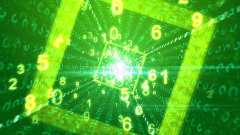 Portal cúbico abstrato do cyber com números ilustração do vetor