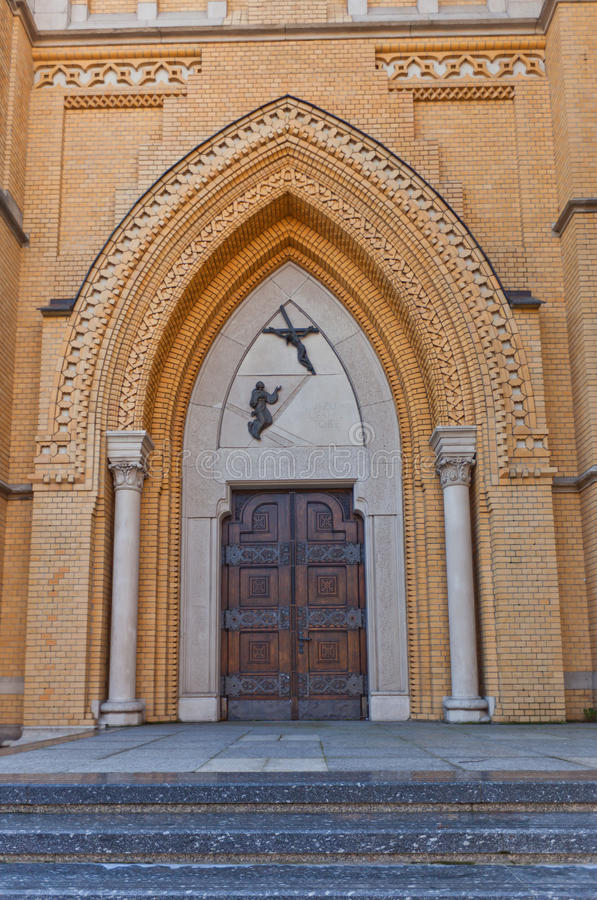 Portal of Cathedral of St Stanislaus Kostka (1912) in Lodz stock images