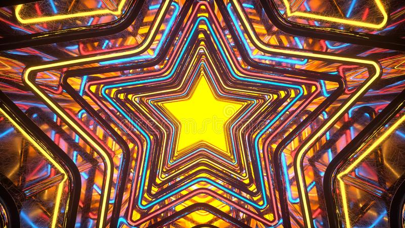Portal com rendição de incandescência colorida das estrelas 3D do estilo do disco ilustração stock