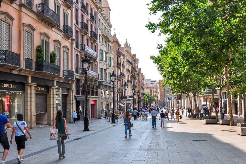 Portal de l`Àngel street in center of Barcelona, Spain stock image