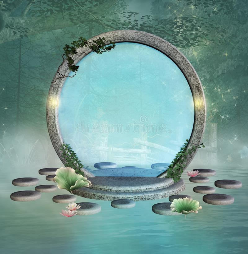 Portal de la fantasía sobre un lago brumoso en un bosque verde stock de ilustración