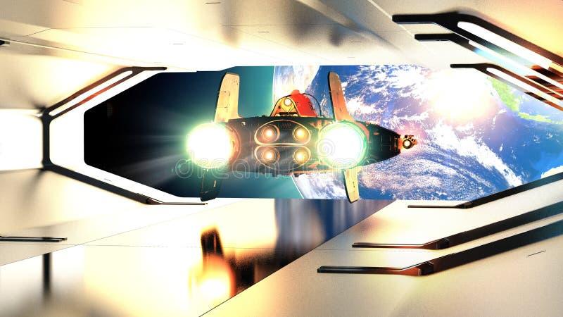 Portal de uma nave espacial Nave espacial galáctica que parte de uma nave espacial Terra do planeta e conquista do espaço Futuro  ilustração royalty free