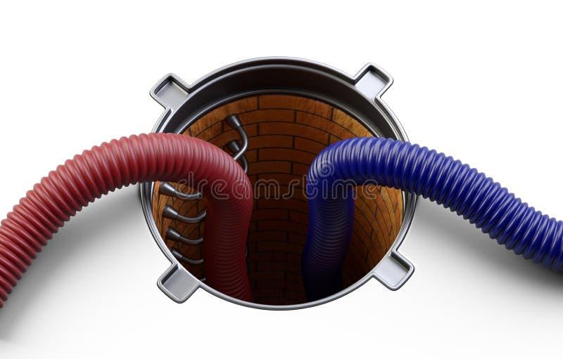 Portal do esgoto com tampa aberta do furo da câmara de visita da tampa e as mangueiras frisadas vermelhas, azuis da sução para a  ilustração royalty free