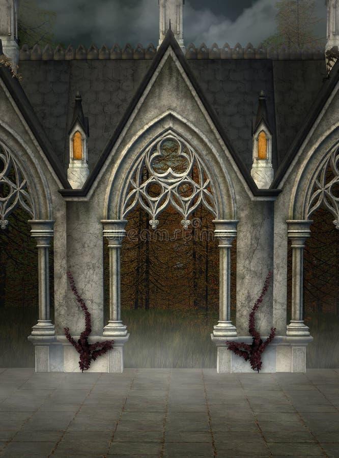 Portal gótico em um lugar secreto enevoado ilustração royalty free