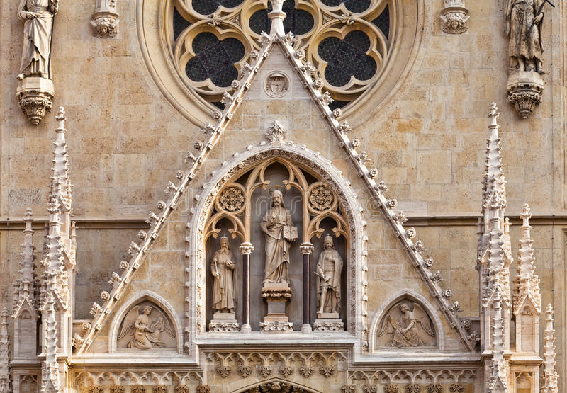 Portal of the gothic Zagreb cathedral royalty free stock image