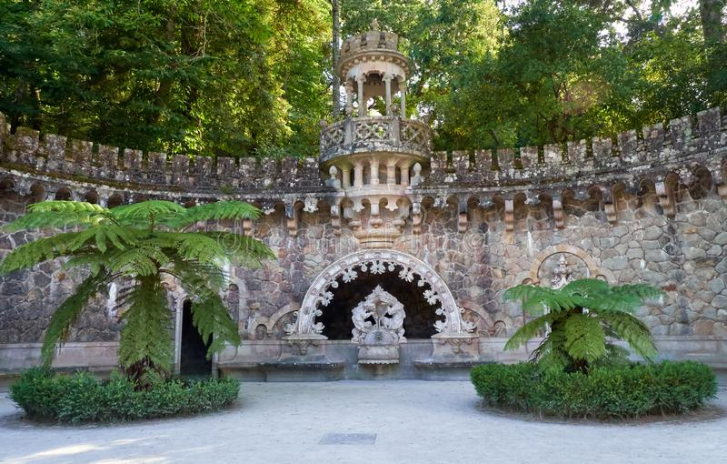 Portal of the Guardians in Quinta da Regaleira estate. Sintra. Portugal. Portal of the Guardians - a pavilion under which is hidden one of the entrance way to royalty free stock image