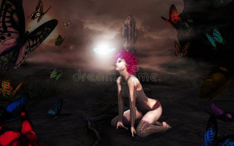 Portal mágico de Butterly da fantasia ao mundo das fadas ilustração royalty free