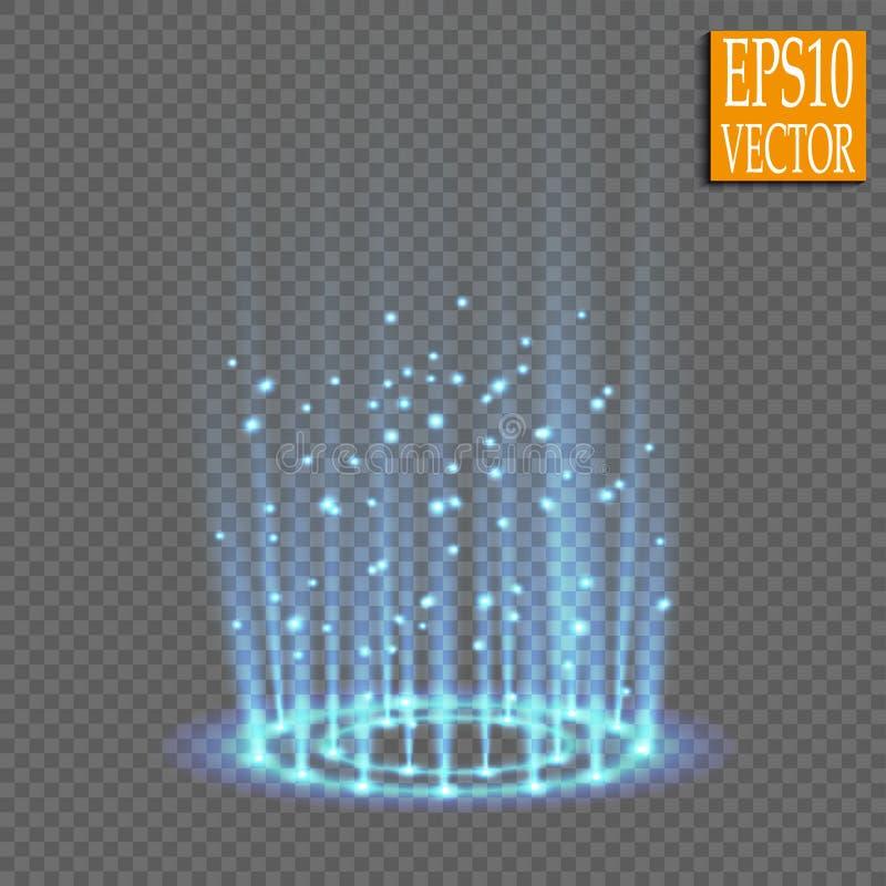 Portal mágico de la fantasía Futurista teleport Efecto luminoso Velas azules de rayos de una escena de la noche con las chispas e imagenes de archivo