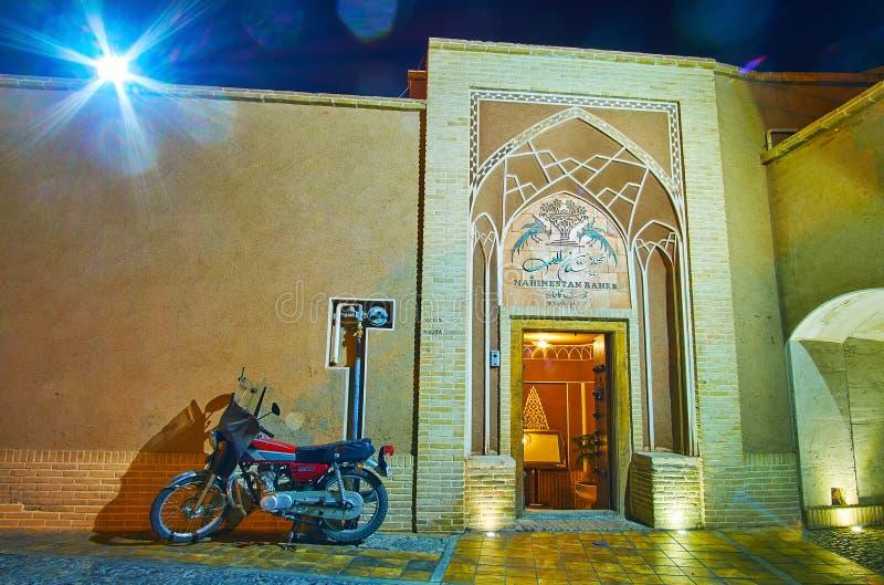 The portal of Mahinestan Raheb Historical House, Kashan, Iran stock photography