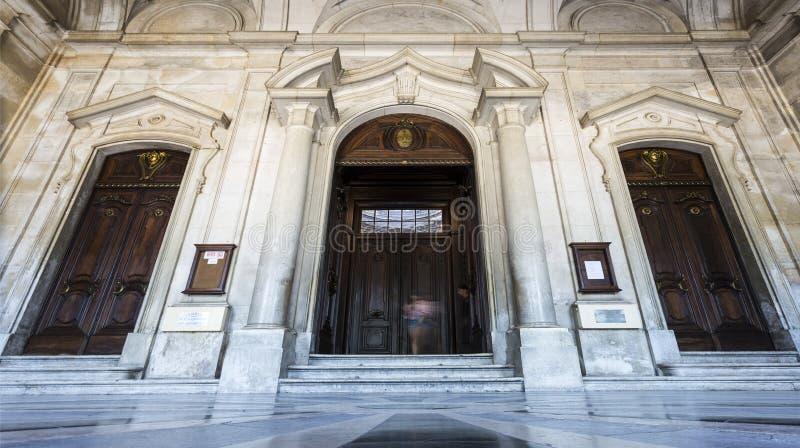 Lisbon Entrance of the Estrela Basilica stock photo