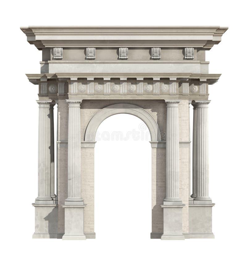 Portal no estilo neoclássico isolado no branco ilustração do vetor
