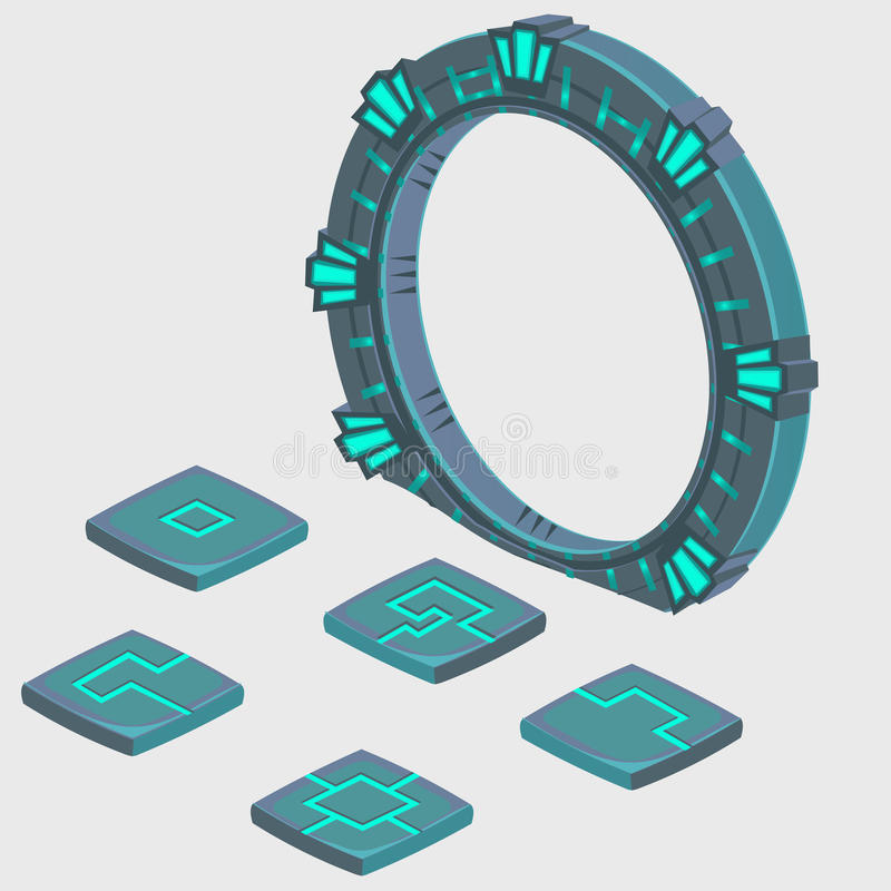 Portal a otra dimensión y placa con las runas stock de ilustración