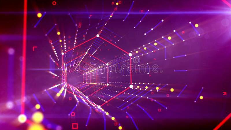 Portal sextavado colocado obliquamente no espaço violeta ilustração do vetor