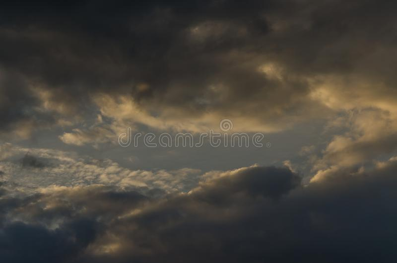 Portal in the sky. Furious clouds that closed the way to the unknown stock image