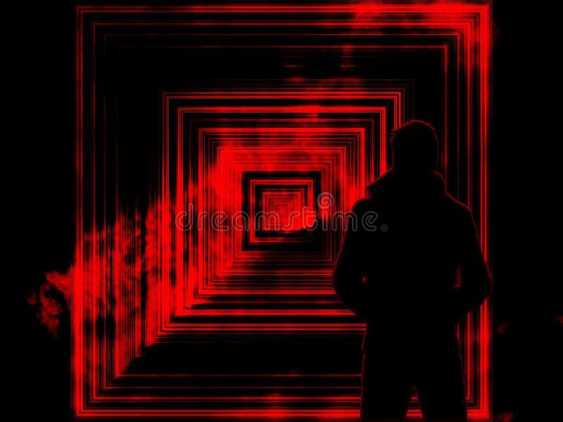 Portal till en annan värld, portal till mörker med lågor med en man i kappan royaltyfri foto