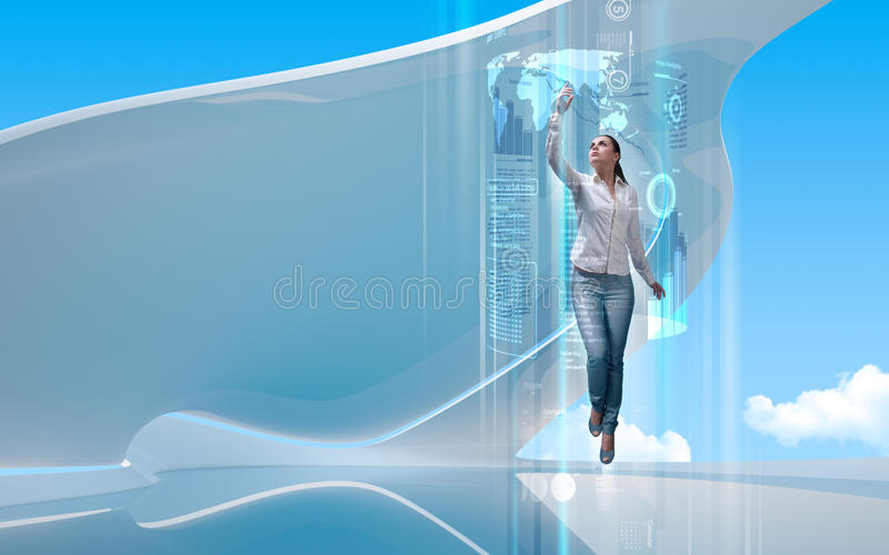 Portal to the future. Attractive young adults in futuristic interfaces / interiors series