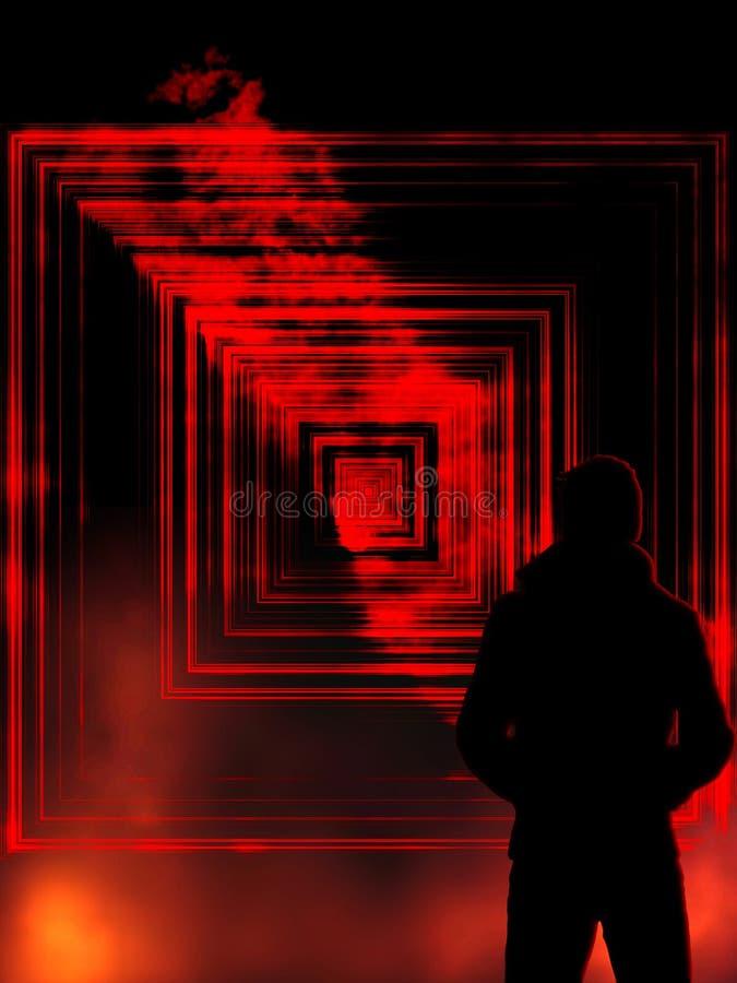 Portal a um outro mundo, portal à escuridão com chamas com um homem no revestimento ilustração royalty free