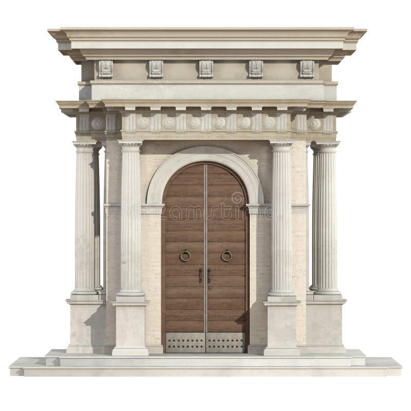 Portal velho no estilo neoclássico isolado no branco ilustração do vetor