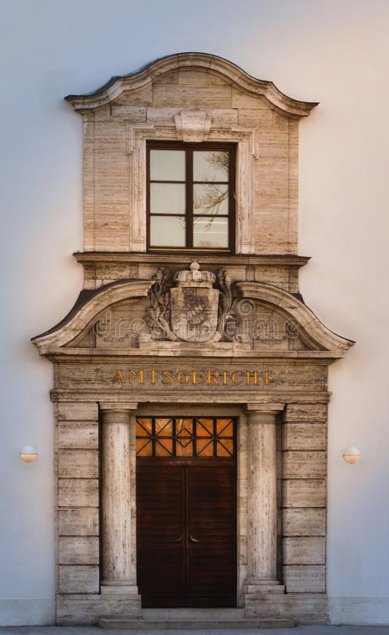 Portal of the Weilheim Local Court as a detailed view. stock image