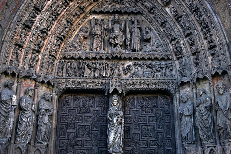 Portal of White Lady, cathedral Leon, Spain. Spain: Santa María de León Cathedral, also called The House of Light or the Pulchra Leonina is situated in the royalty free stock image