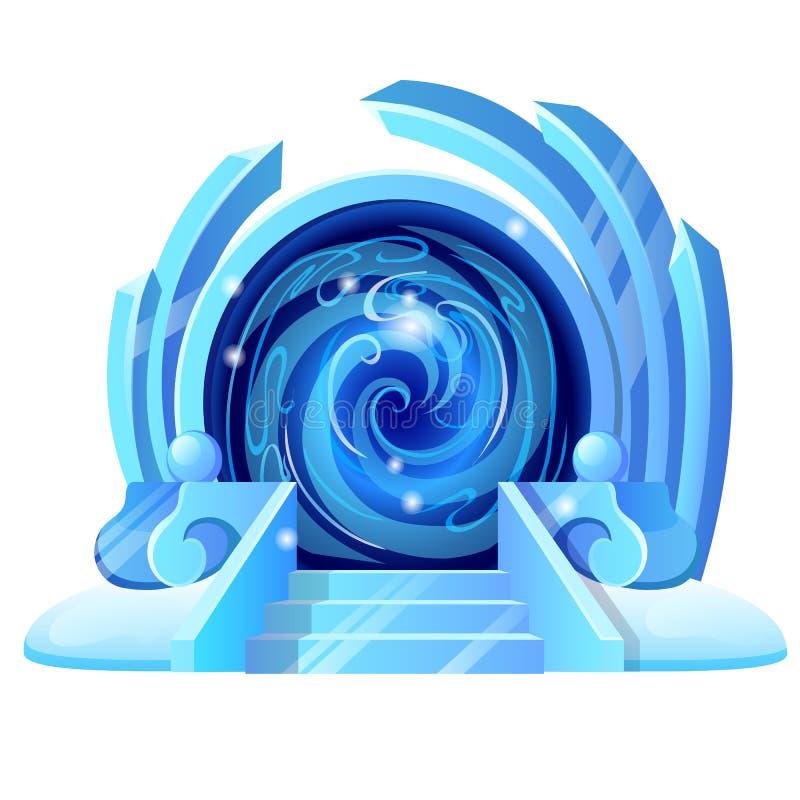 Portale aperto con il portico ghiacciato e la struttura scintillante del ghiaccio isolati su fondo bianco Campione del manifesto, illustrazione di stock