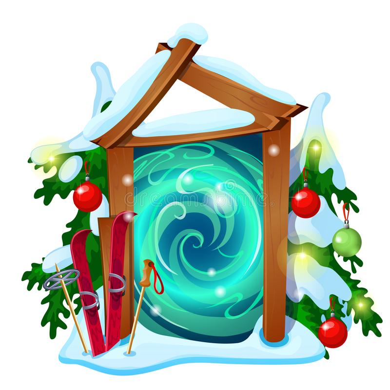 Portale aperto con la struttura di legno decorata con le bagattelle del nuovo anno e di Natale isolate su fondo bianco Campione d illustrazione vettoriale