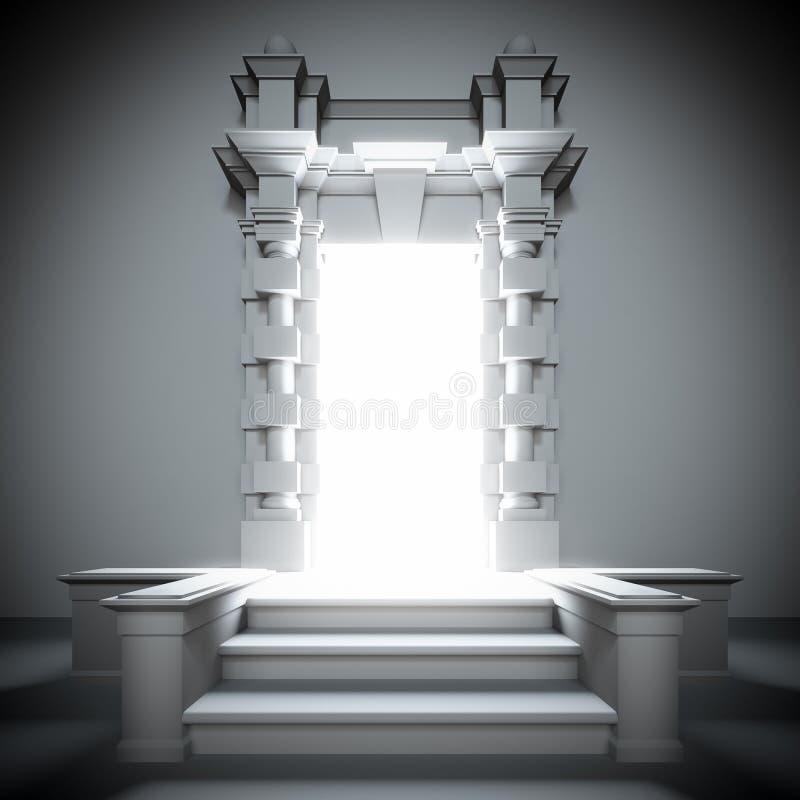 Portale bianco a futuro con indicatore luminoso luminoso. illustrazione di stock
