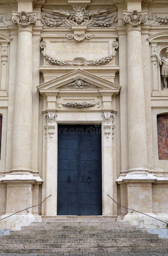 Portale della chiesa della st Catherine e del mausoleo di Ferdinand II, Graz fotografie stock libere da diritti