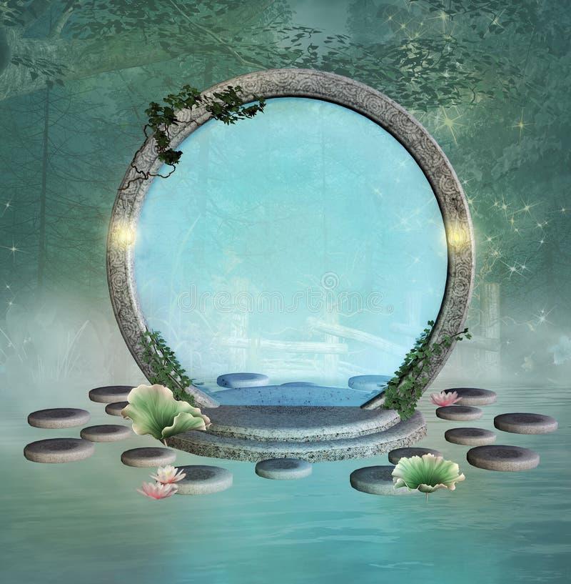 Portale di fantasia sopra un lago nebbioso in una foresta verde illustrazione di stock