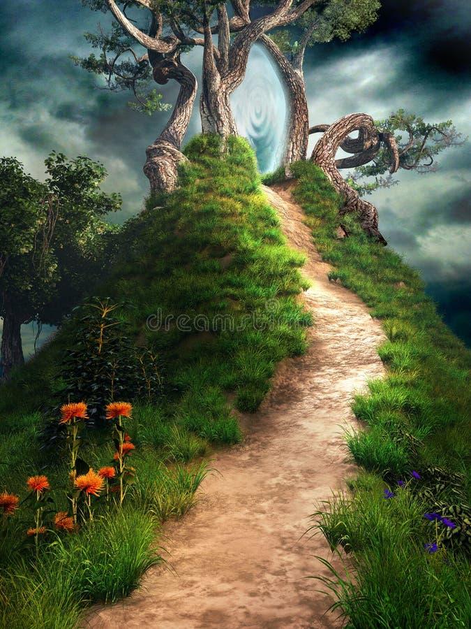 Portale magico sulla collina royalty illustrazione gratis