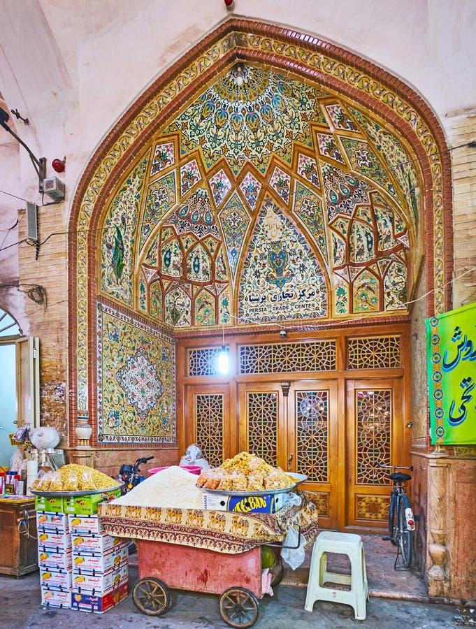 Portalen av Persia Trade Center i Isfahan den storslagna basaren, Iran royaltyfria foton