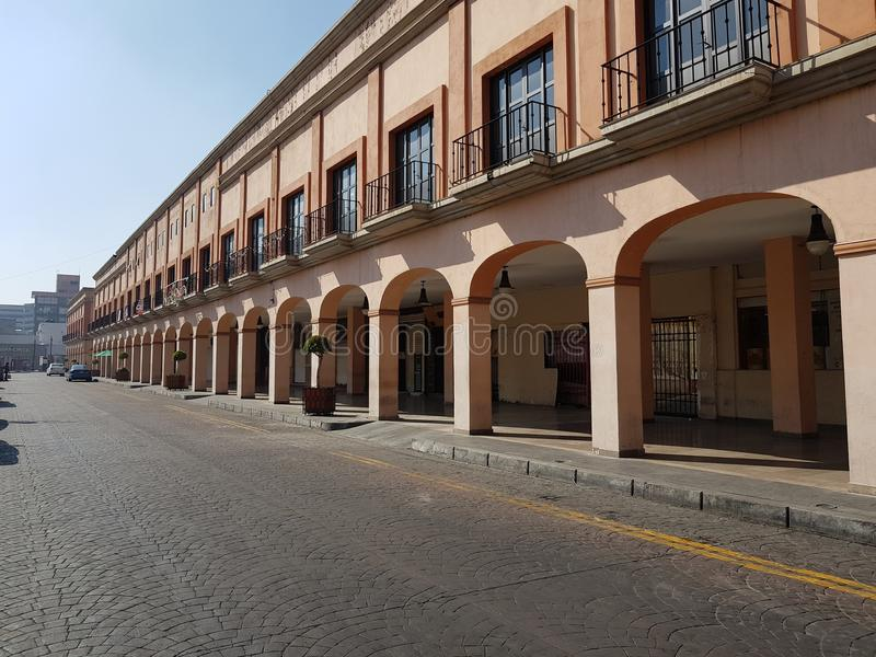 Portals in the Centre of the city of Toluca, Mexico stock photo
