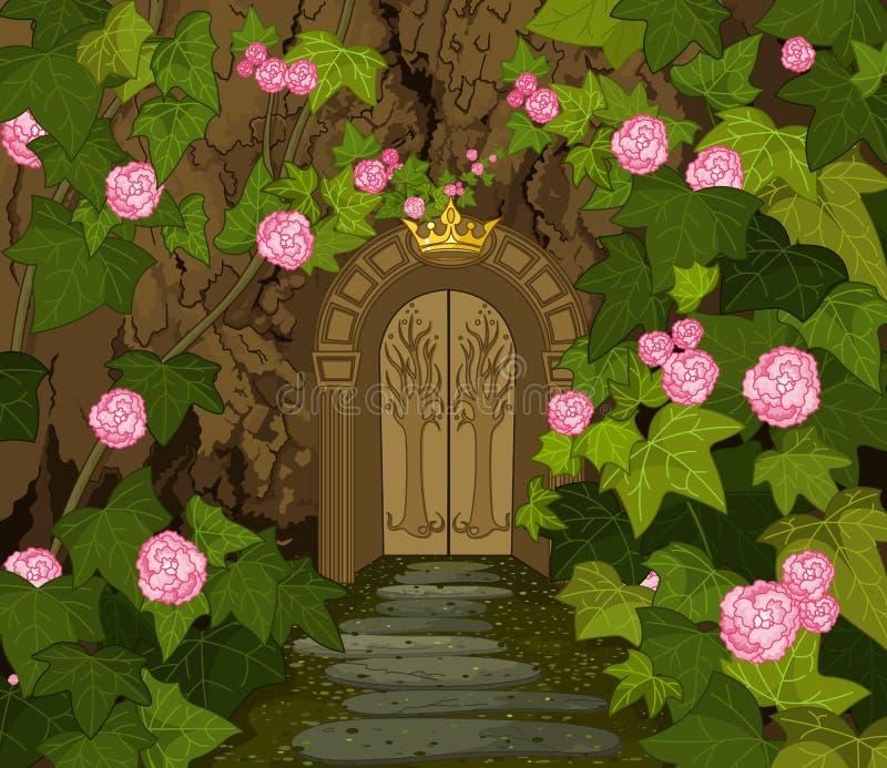 Portar av den magiska älvaslotten royaltyfri illustrationer
