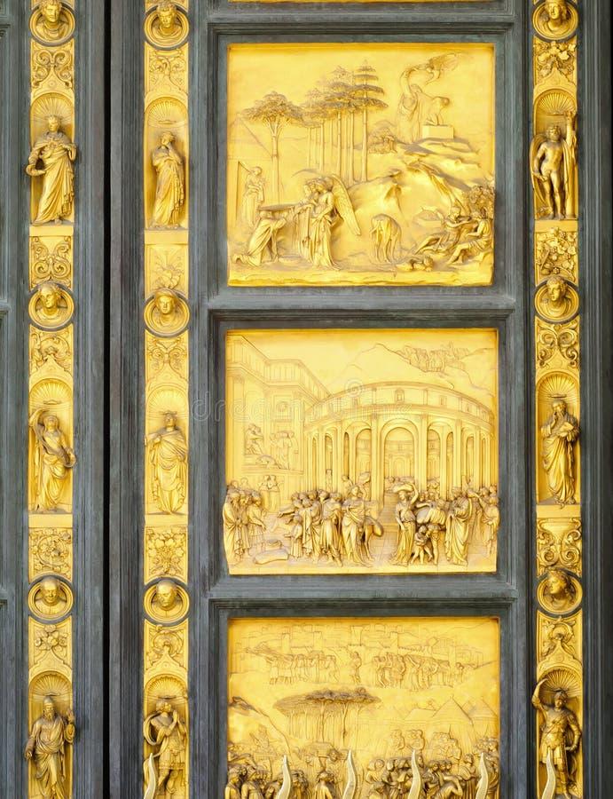 Portar av paradisdetaljen, Florence Baptisery, Italien royaltyfri bild