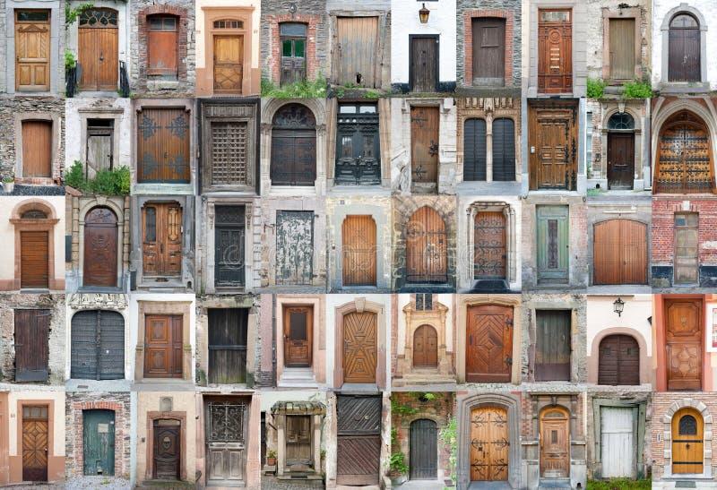portar för 1 dörrar ställde in tappning arkivbilder