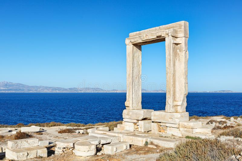 Portara in Chora of Naxos island, Greece. Portara in Chora of Naxos island in Cyclades, Greece stock photo
