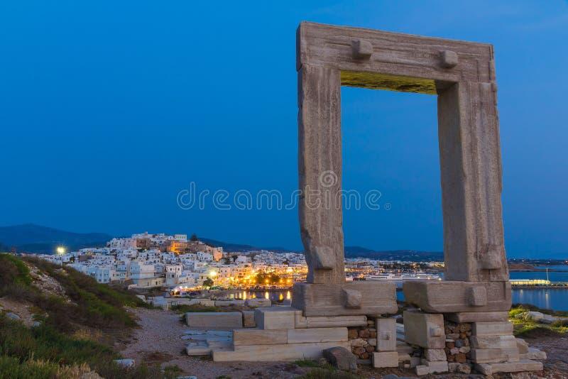 Portara in Chora town, Naxos island, Cyclades, Aegean, Greece. View on Portara in Chora town, Naxos island, Cyclades, Aegean, Greece stock photography