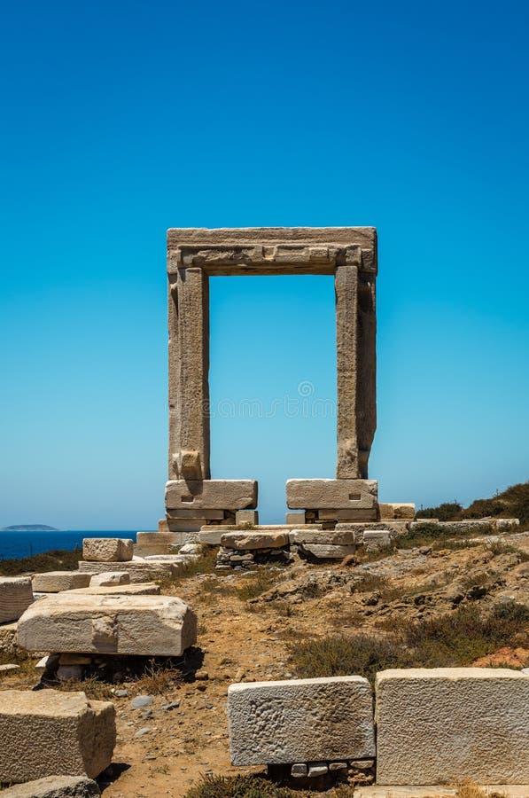 Portara drzwi w Naxos, Grecja obraz stock