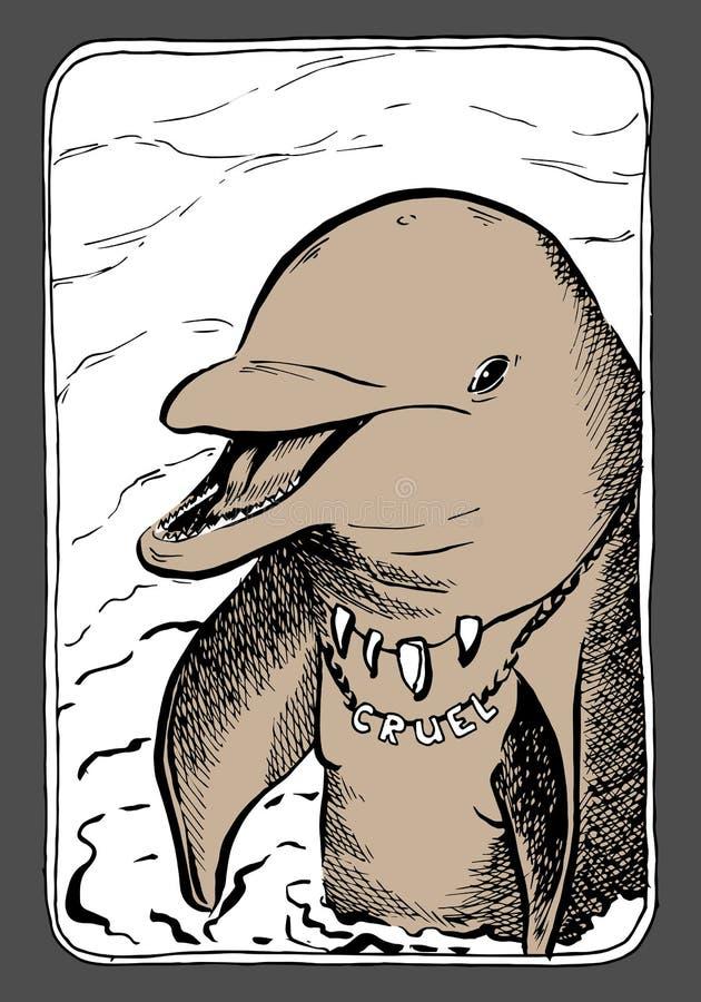 Portarait graphique de dauphin ; illustration EPS10 de vecteur illustration stock