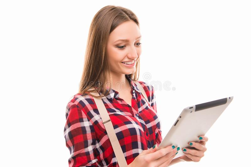 Portarit of cute student girl with tablet PC stock images