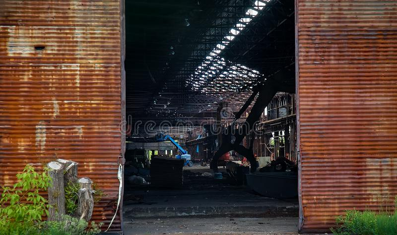 Portas abandonadas de Steelmill foto de stock